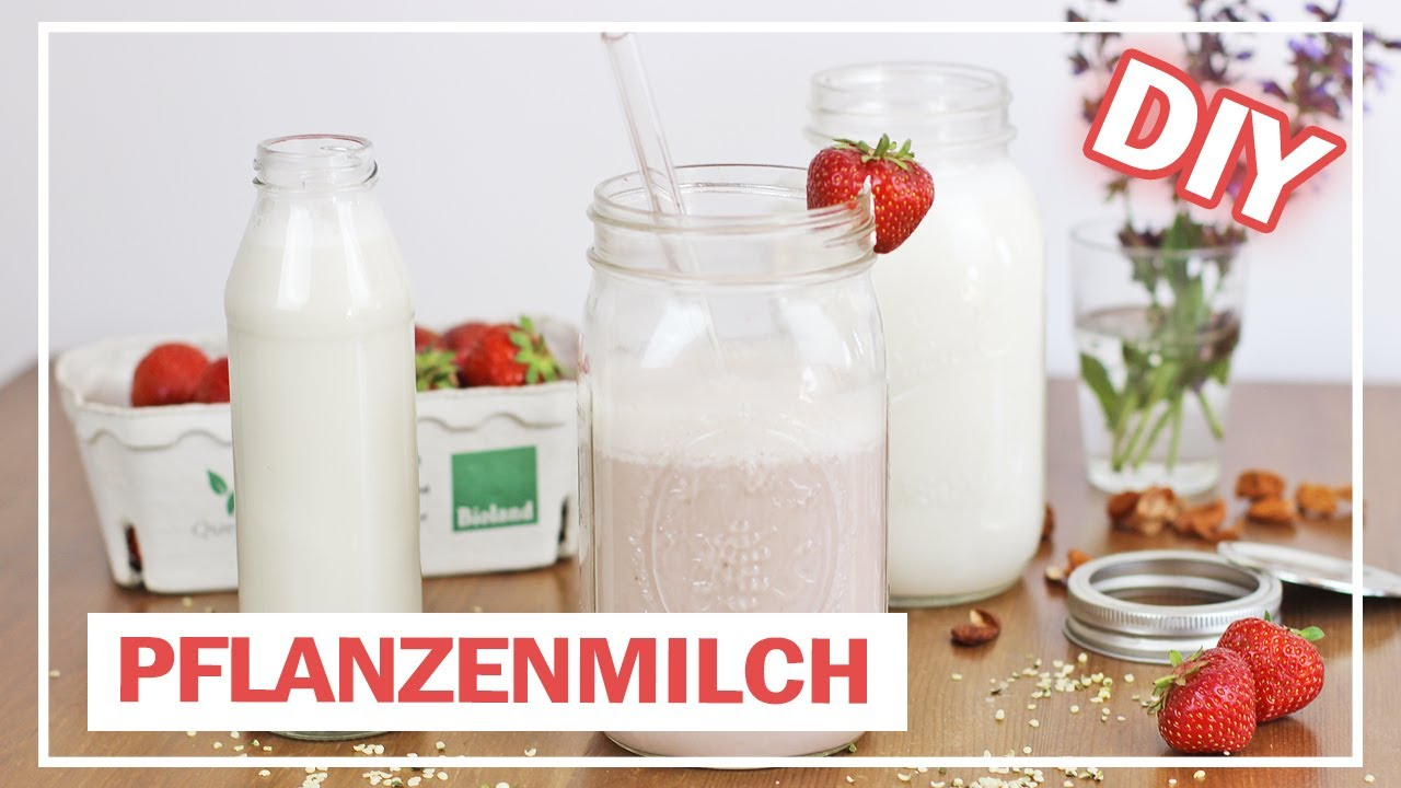 pflanzenmilch selber machen hanf mandel incl milchshake rezept youtube. Black Bedroom Furniture Sets. Home Design Ideas