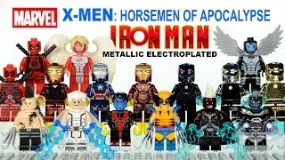 X-Men Horsemen of Apocalypse & Electroplated Metallic Iron Man Armory Unofficial LEGO Minifigure Set