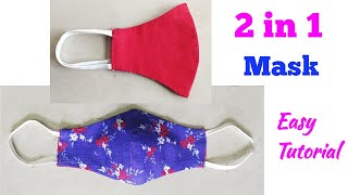 2 in 1 Mask Very Easy Tutorial DIY Mask Face Mask Sewing Tutorial Step by Step New Mask Design