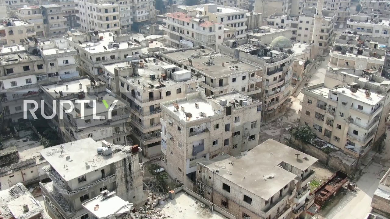 Download Syria: Drone footage shows M4 highway and abandoned Ariha town
