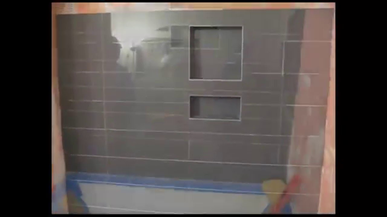 Ceramic tile bathroom tub area with Schluter Kerdi  YouTube