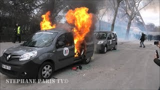 véhicule  de l'Opération Sentinelle en feu à Paris