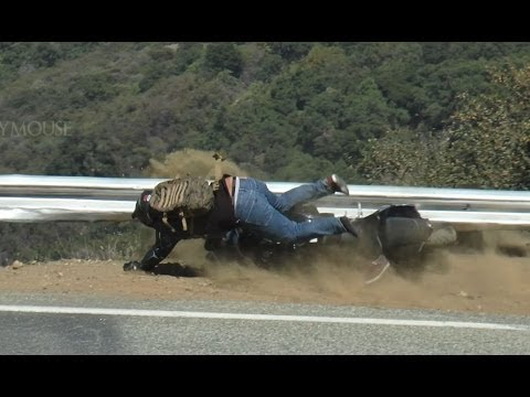 Not a Good Day - Rider Slides into Guardrail