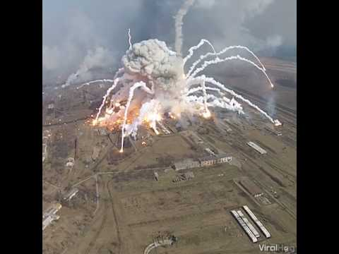 Incredible explosion at Ukranian arms depot Fire Big | fireworks explosion youtube