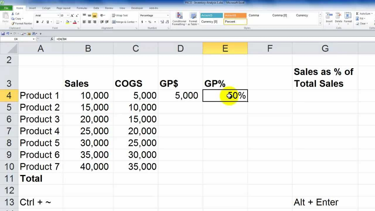 how to calculate profit in excel