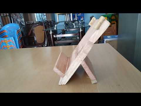 Wooden mobile stand.