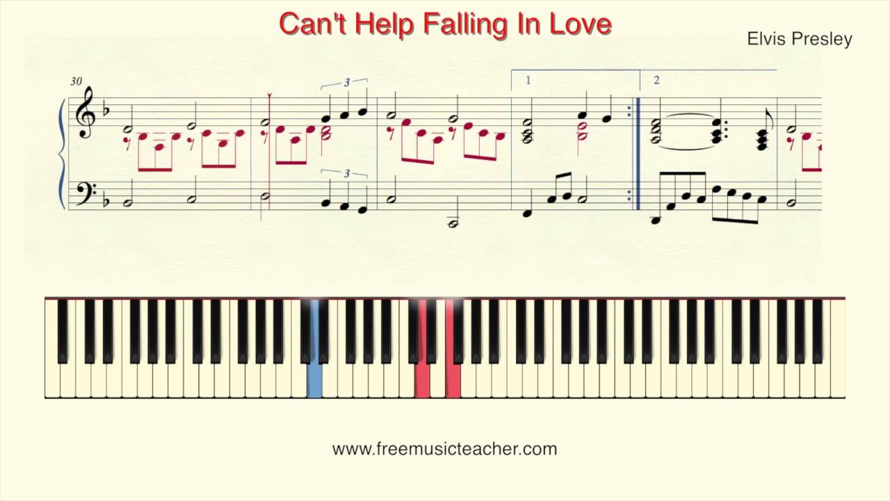 """how to play piano: elvis presley """"can't help falling in love"""" piano"""