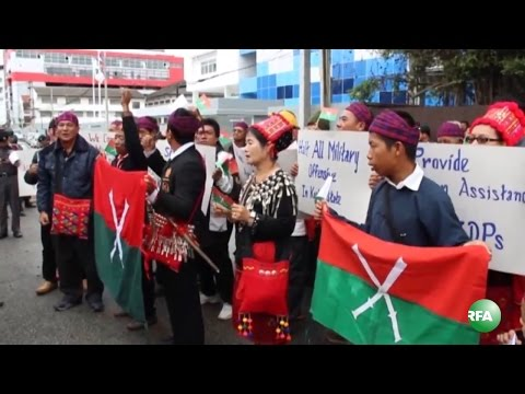 Kachins in Thailand Protest at Myanmar Embassy for War in Kachin State