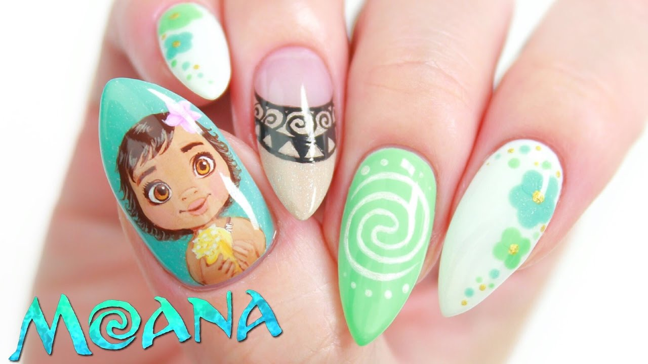Disney's Moana Nail Art Design Tutorial - YouTube