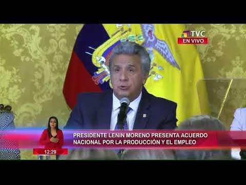 Presidente Moreno presenta acuerdo nacional por la producción y el empleo