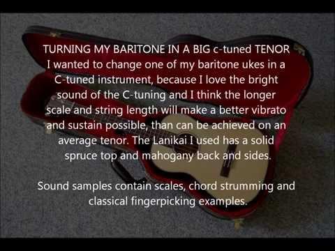 Lanikai baritone ukulele with Aquila 23u strings, tuned G C E A - by Ukulogics
