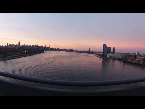 Crossing Williamsburg Bridge - East River Brooklyn Manhattan GoPro New York City Amazing Views!