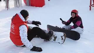 Обучение езды на сноуборде видео