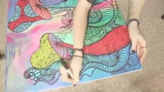 drawing colorful mushrooms