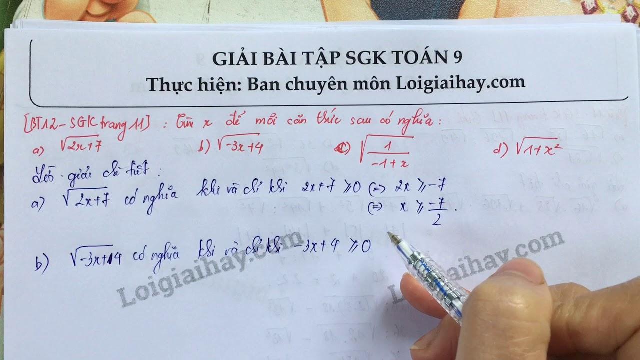 Giải bài 12 trang 11 SGK toán 9 tập 1