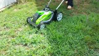 Greenworks Elecrtic Lawn Mower Unboxing Review