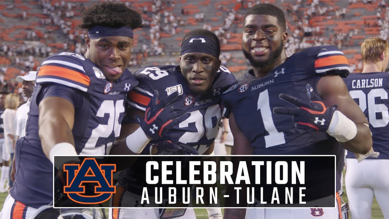 Auburn Celebrates After Winning Home Opener Against Tulane