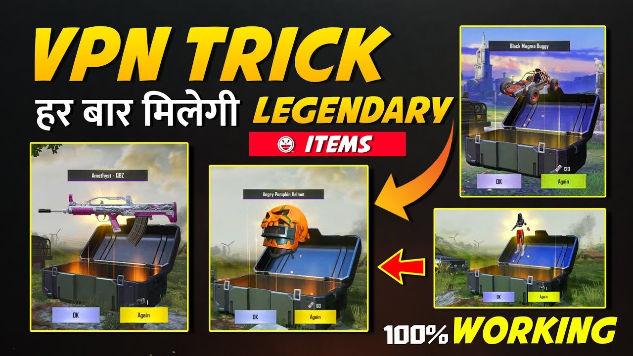 PUBG Free GUN Skins 100% Working trick to Open Crates with VPN Get  Legendary Items