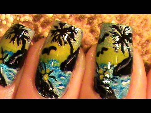 How to paint a miniature Island on your nails