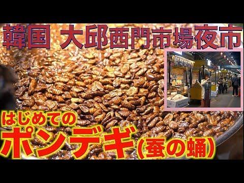 【食べ歩き大食い】[虫がだめな人は閲覧注意]韓国大邱 [西門市場]夜市マジですごい!!!!はじめてのポンデギ[かいこのさなぎ]を食べる【木下ゆうか】韓国その④