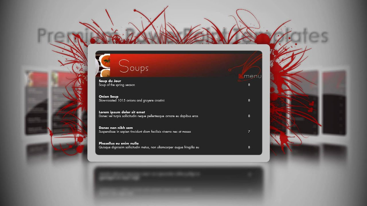 Digital Sigange PowerPoint Template Restaurant YouTube - Powerpoint menu template