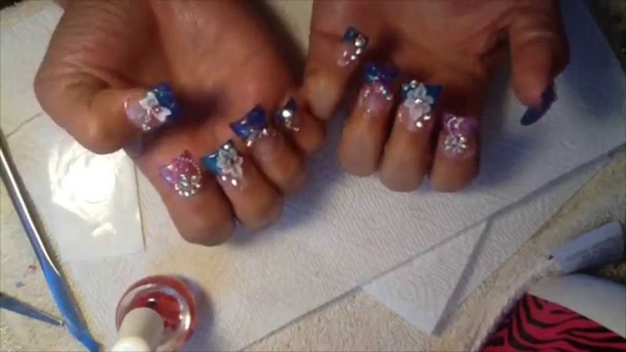 Duck Flare Nails Design With Rhinestones Acrylic Nails Youtube