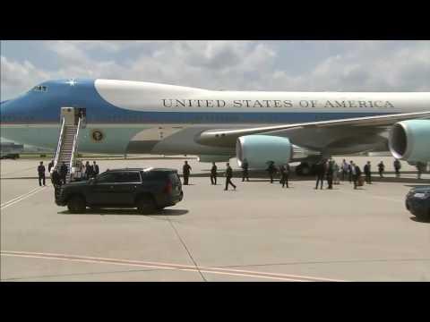 FULL: President Trump arriving in Atlanta, GA for NRA event