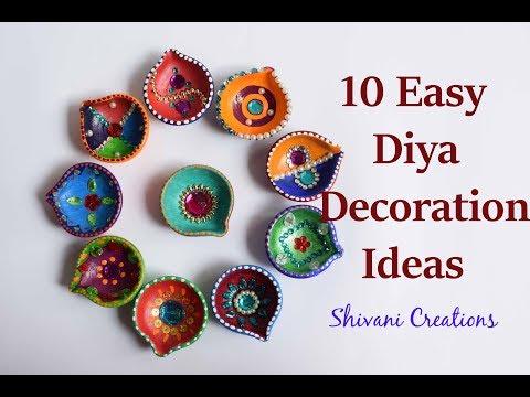 10 Easy Diya Decoration Ideas/ How to decorate Diya for Diwali/ DIY Earthen Lamp