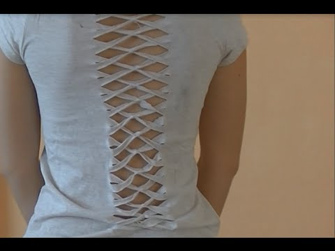 Diy Cut Out Crossover Back T Shirt Youtube