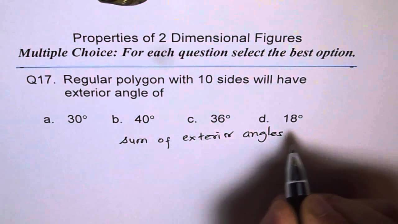 Exterior Angle For Decagon Q17 Youtube