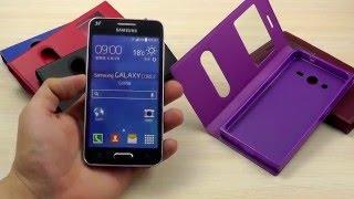 ОБЗОР: Практичный Кожаный Чехол-Книжка для Samsung Galaxy Core 2 Duos SM-G355H/DS с Окном