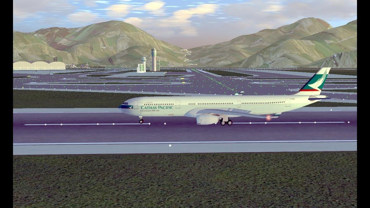 FlightGear V3 2 landing at Hong Kong Airport during Typhoon