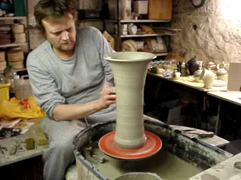 Ingleton Pottery Making a tall clay pottery flared trumpet