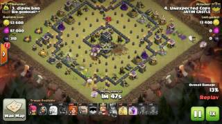 Tips Clash Of Clans TH 9: meratakan (3 star) base war type 52 menggunakan trops GoHealVaWizHog