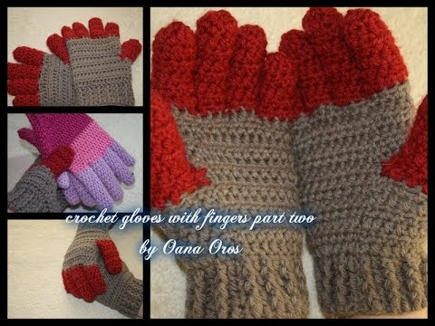crochet gloves with fingers part two - YouTube