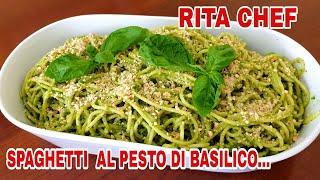 Spaghetti Al Pesto Di Basilico E Nocciole Di Rita Chef - Ricetta Vegetariana.