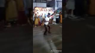 Kalidurai -student of arunachalam mani's peformance of silambam martial arts in dashara festivel