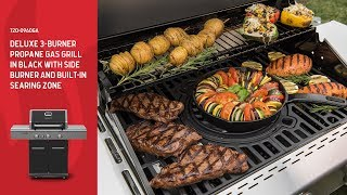 Nexgrill DEluxe 3-Burner Propane Gas Grill with Ceramic Rear Burner & Side Burner (720-0960GA)