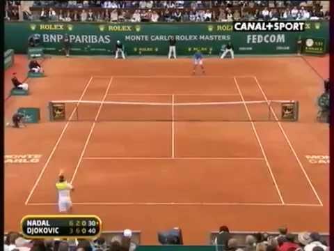 Rafael Nadal VS Novak Djokovic Monte Carlo 2009 rally 1minute