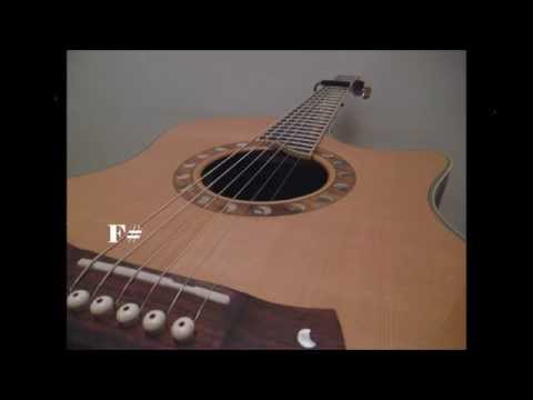 tuning video. standard guitar tuning with capo on 2nd fret (f#, b, e, a, c#, f#)
