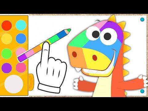 Aprende con Eddie los colores dibujos de flores, pizzas y más 🎨 Eddie el dinosaurio Colorea