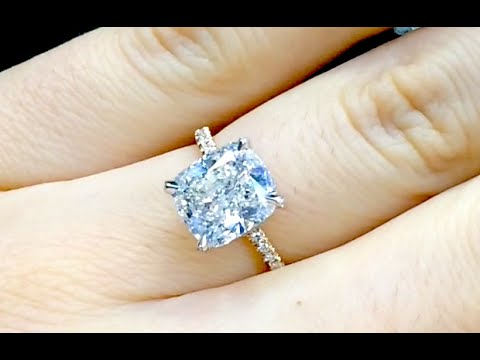 4 Carat Cushion Cut Diamond Two Tone Engagement Ring Youtube