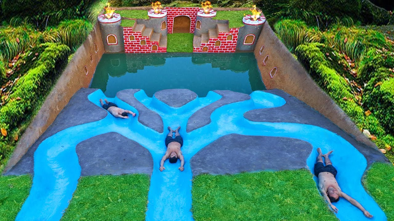 How To Build Underground Tunnel Water Slide Park Into Swimming Pool house