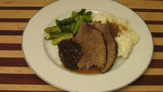 Real Braised Beef Roast Recipe With Mash Potatoes And Asparagus