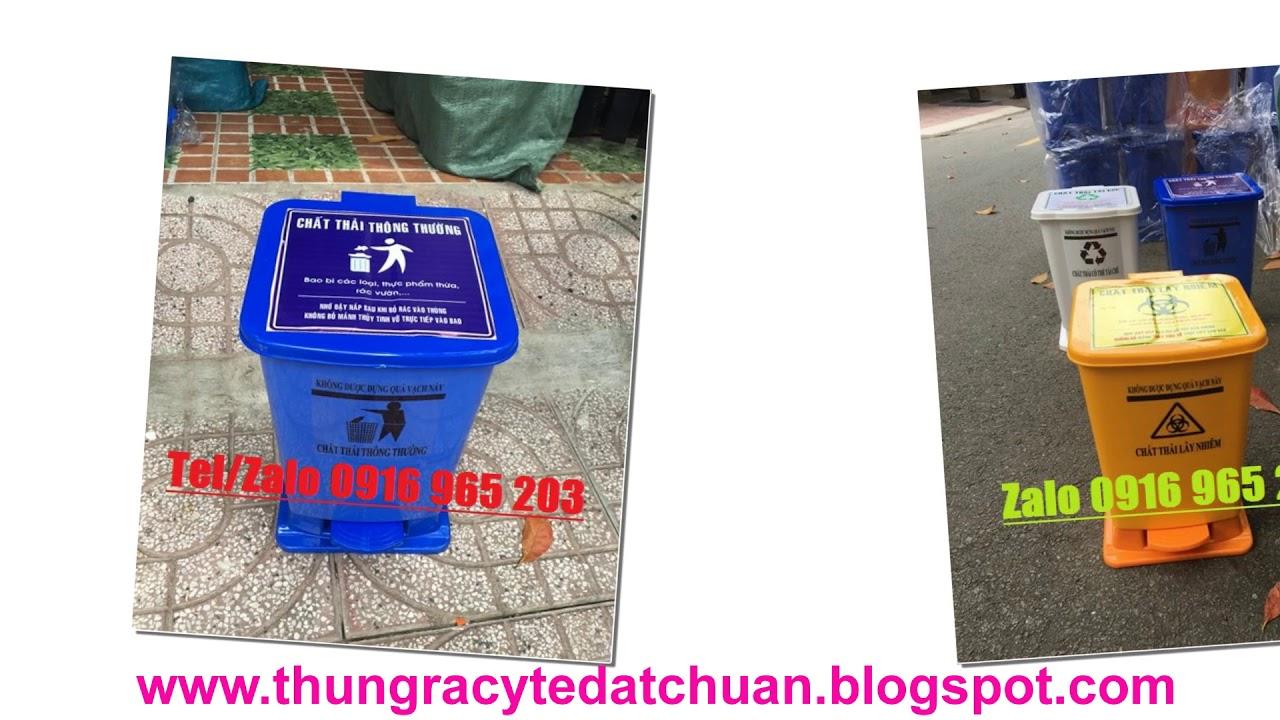 Thùng rác y tế 15 lít 20 lít 60 lít, thùng đựng rác thải nguy hại lây nhiễm - YouTube
