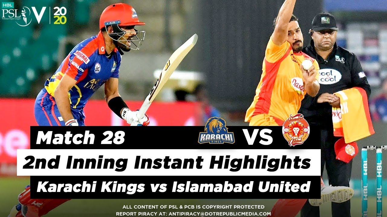 Islamabad United vs Karachi Kings | 2nd Inning Highlights | Match 28 | 14 March | HBL PSL 2020