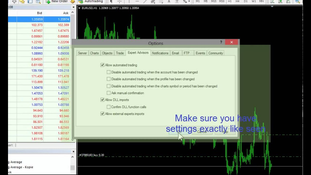 Howto Metatrader Enable Dll Execution Youtube