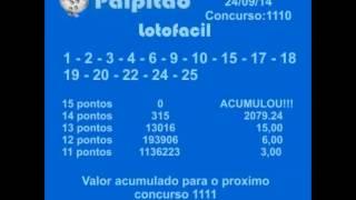 LOTOFACIL CONCURSO 1110