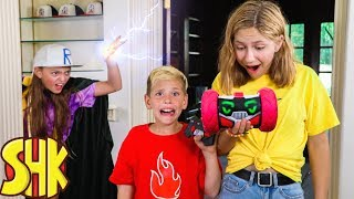 Super Speed Reversed! Sneaky Mysterious villain steals Noah's Power Ring Turbo Bot | SuperHeroKids