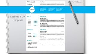 How to write a resume / CV  with Microsoft Word free  template  DOC+PDF